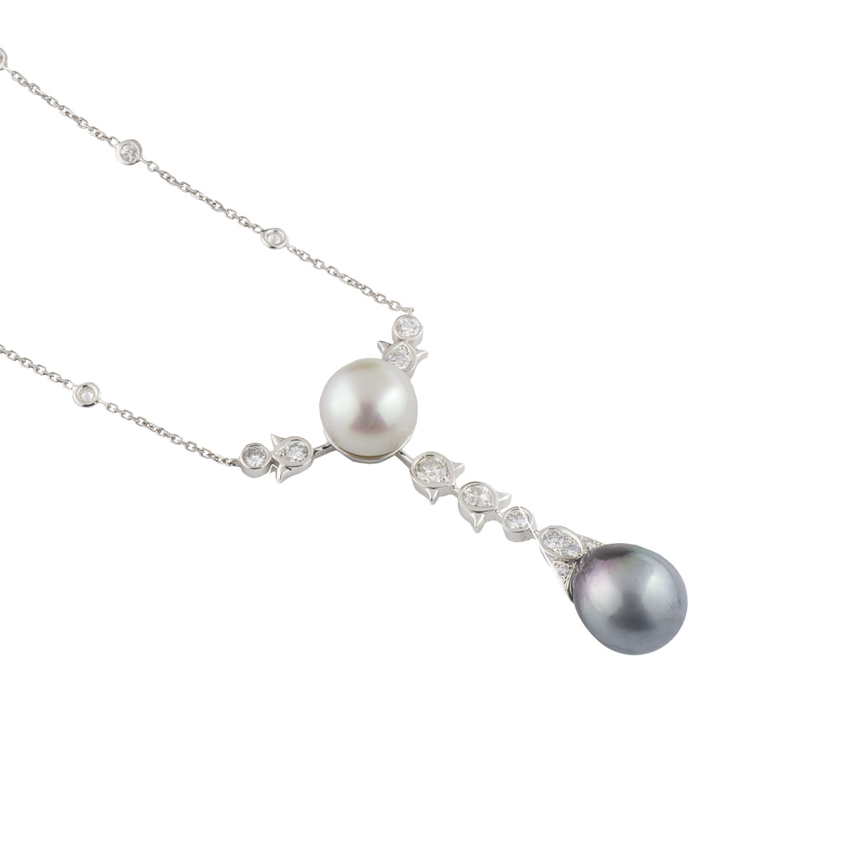 White Gold Diamond and Pearl Necklace